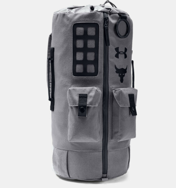 62c6b6080eff Under Armour Project Rock Backpack 60 Duffle Bag Grey 1345663-040 Water  Resist