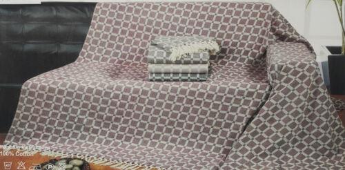 XL BURGUNDY CHESSBOARD CHECK 100/% COTTON SOFA THROW BEDSPREAD 228x 254cm