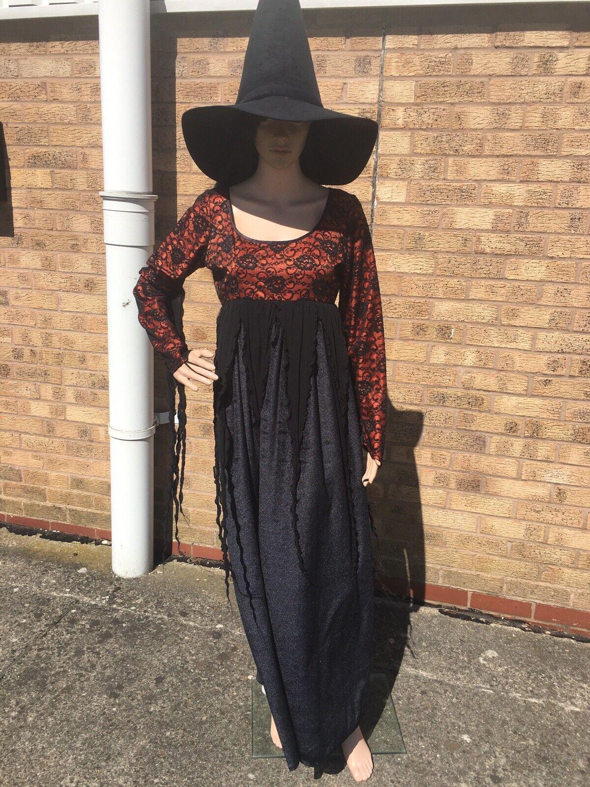 Halloween - Velvet Black / Orange Witch + Hat , Size 14