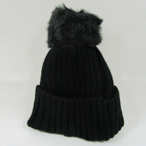 Childrens Kids Boys Girls Ribbed Cable Knit Pom Pom Knitted Winter Bobble Hat 6