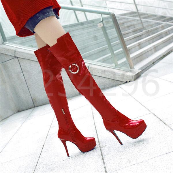Sexy Overkneestiefel Stiletto High Heel Damen Schuhe Platform Party Stiefel Neu