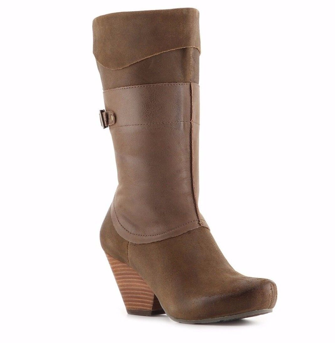 OTBT SHOES ROSWELL BOOTS MUD LEATHER 8.5 MID CALF ROUND TOE