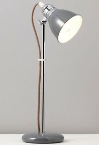 Retro-Modern-Industrial-Grey-Chrome-Metal-Desk-Lamp-NEW-Vintage-Style-Cord-43cm