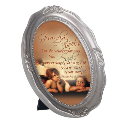 Guardian Angels Metallic Wavy 5x7 Oval Table Top and Wall Photo Frame