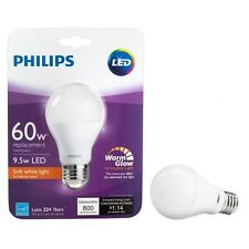 (1)Philips 9.5W/60W 800 Lumens 2700K A19 Dimmable LED Warm Glow Soft White