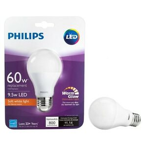 1 philips 9 5w 60w 800 lumens 2700k a19 dimmable led warm glow soft white. Black Bedroom Furniture Sets. Home Design Ideas