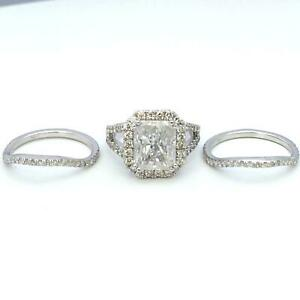 ESTATE-HALO-DIAMOND-RING-SIDE-STONES-PROMISE-BANDS-SET-6-25-CARAT-18K-WHITE-GOLD