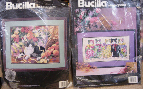 Two Rare Bucilla Needlepoint Kits Purrfect Still Life, Chintz Cats Free SHIP