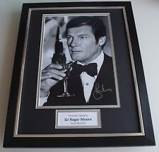 Roger Moore SIGNED FRAMED Photo Autograph 16x12 display James Bond 007 Film COA