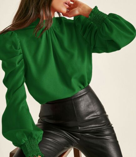 Stand Collar Puff Sleeve Long Sleeve Shirred Cuff Tie Back Elegant Blouse Top