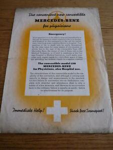 SALE ! MERCEDES BENZ 230 AMBULANCE BROCHURE 1938  jm