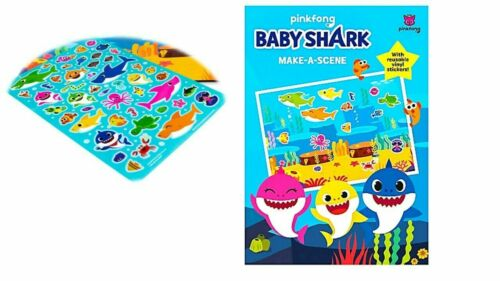 KIDS BABY SHARK MAKE-A-SCENE Play board Stickers Fun Home Activity Game Gifts UK