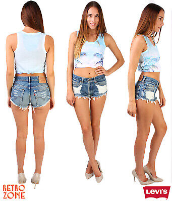 Vintage Womens Ripped Denim Mid Waisted Shorts Jeans Hotpants 10 12 14 16 18