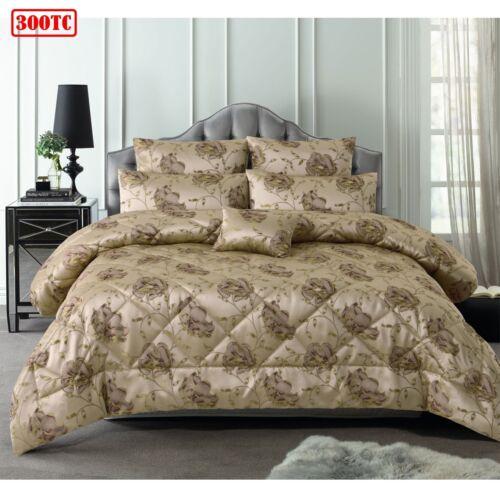 6 Piece 300TC Regal Rose Latte Jacquard Comforter Set by Accessorize QUEEN KIN