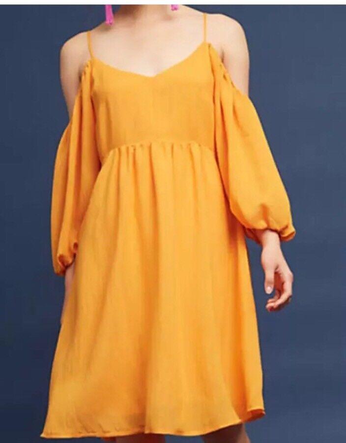 Anthropologie Moulinette Soeurs Carina Open Shoulder Dress S  Mango Cold NWT