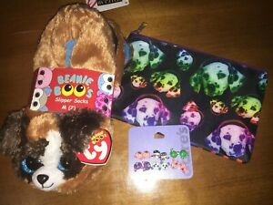 fa54286e7dd Claire s Ty Beanie Boo Sz 1 2 Slippers Duke Puppy Bunny Earrings Bag ...
