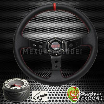 Black 350mm Deep Dish Steering Wheel /& Hub Adapter Honda Civic 1996-2000 EK
