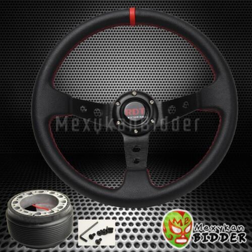 Black 350mm Deep Dish Racing Steering Wheel /& Hub Adapter Toyota Corolla 84-14