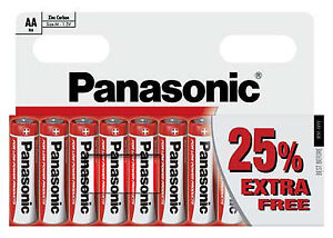 10 x PANASONIC BATTERY AA R6 UM3 ZINC CARBON 1.5v Sealed Batteries Expiry 2021 5410853045724