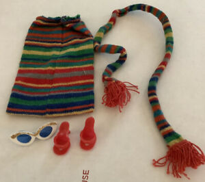 Vintage-Barbie-Midge-1963-Pak-Knit-Striped-Skirt-Scarf-Red-Heels-Sunglasses-EUC