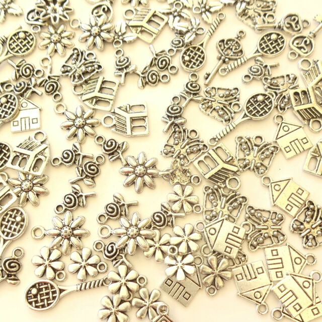 50 Assorted Tibetan Silver Leaf Flower Charms 11-37mm Selection 9 Designs