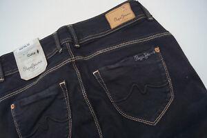 Pepe-Jeans-New-Brooke-Pantalon-Femmes-Hanche-Slim-Stretch-W27-L32-Noir-Neuf