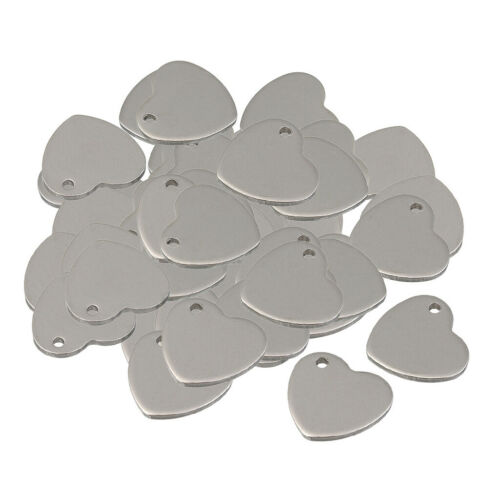 50Pcs Stainless Steel Stamping Blanks Heart Charms Silver Pendants Tags 14mm