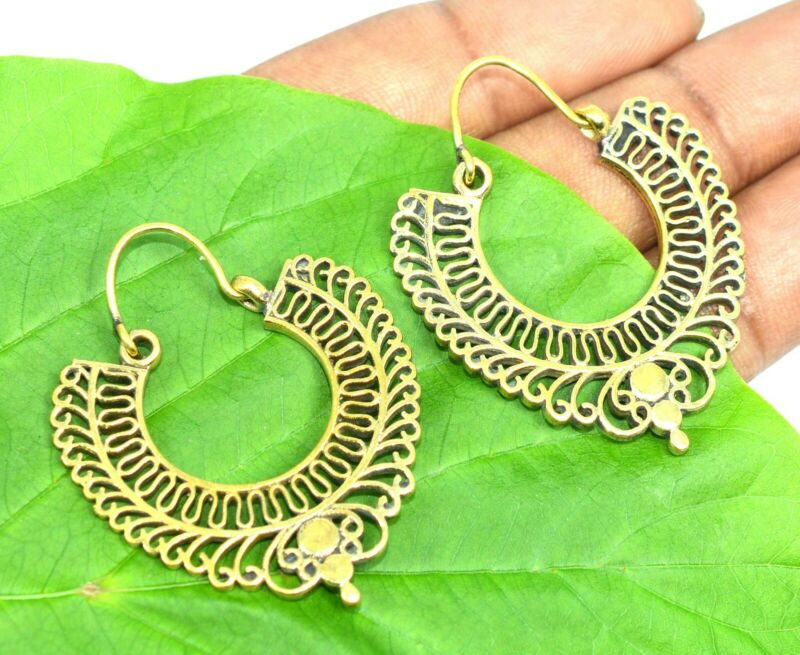 Solid Brass Mandala Plain Earring Bali, Beautiful Hoop Earring