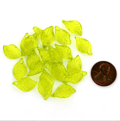Z779 50 Leaf Beads Transparent Lime Green Acrylic Fabulous Detail 18mm x 11mm