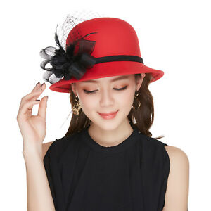 76ed6c887bfbc Women s Classic Wool Winter Hats Felt Wedding Church Fedora Flower ...