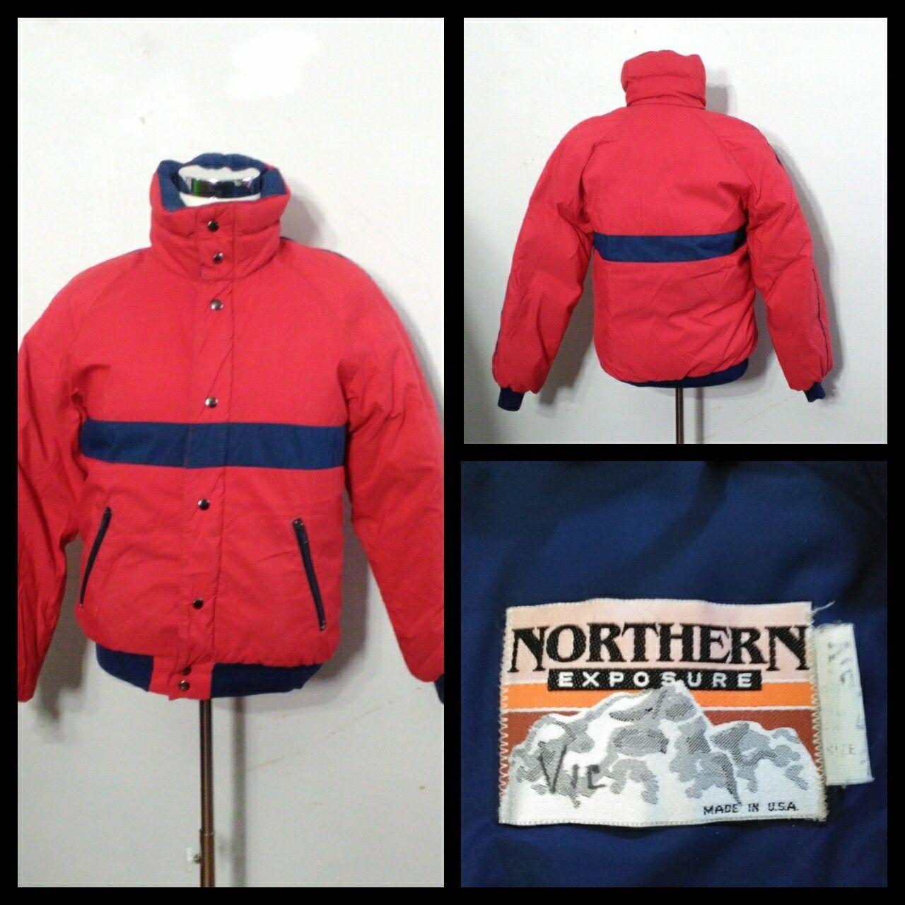 Northern Exposure Down Coat Men's Lg. Red & Navy bluee Full Zip Inv S9205