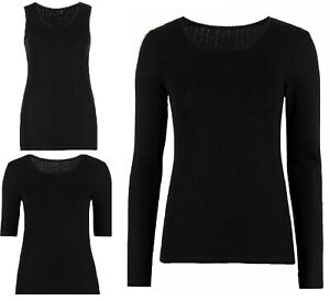 M-amp-S-Pointelle-Thermal-Lace-Trim-BRUSHED-INSIDE-Vest-Short-Long-sleeve-Tshirt-Top