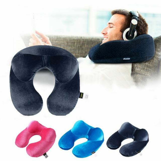U Shaped Pillow New Inflatable Travel Pillow Shaped Neck Support Head Rest Airplane Car Soft fb124c