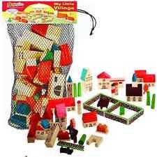 Giocattolo in legno Villaggio Città dipinto Bambini Divertente Gioco Set Ragazzi Ragazze città CASE