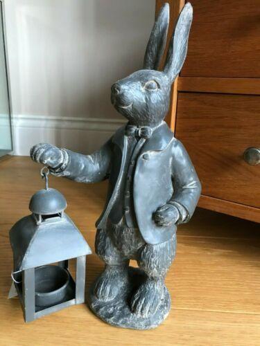 Cast Iron Style Hare Lantern Figurine Ornament Decoration Rabbit Tea light