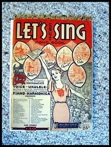 """AgréAble Pour Des Collectionneurs, 1933 """"let's Sing"""" Livret Avec Harmonica Onglets.-afficher Le Titre D'origine"""