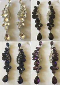 Df Grandes Pendientes Colgantes de Gota de Plata Plateado con cristales austriacos Caja de Regalo Gratis