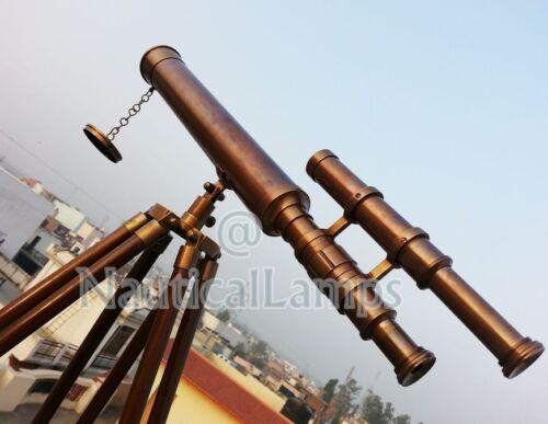 "Royal Navy Port Marine Brass Telescope Vintage Decor Wooden Tripod Telescope 18/"""