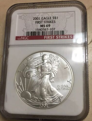 2001 $1 Silver eagle~ FIRST STRIKE NGC MS 69 RED LABEL~ Collectible Coin!