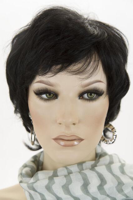 Black Brunette Medium Short Human Hair Wavy Straight Wigs