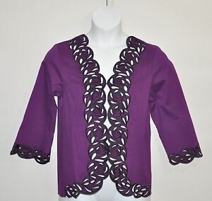 Bob-Mackie-Embroidered-Cut-Out-Jacket-Size-2X-Plum