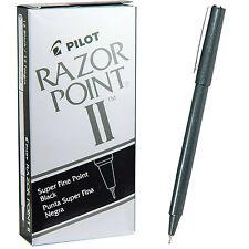 Pilot Razor Point Ii 11009 Black 02mm Super Fine Plastic Point Pens 1 Dozen
