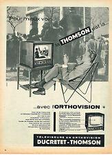 PUBLICITE ADVERTISING 104  1956  DUCRETET-THOMSON   téléviseur en ORTHOVISION