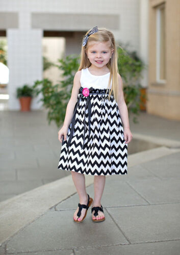 Kids Girls Chevron Navy Blue White Sleeveless Summer Party Dress Size 2//3//4