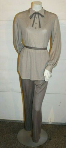 Vintage 70s Womens Disco Polyester Pantsuit 2 piec