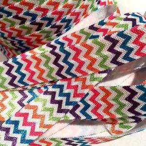 "3 yards neon pink /& black chevron print 5//8/"" fold over elastic FOE"