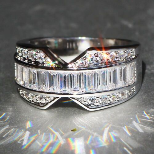 Hot 925 Silver Filled white Sapphire Birthstone Engagement Wedding Ring Gift