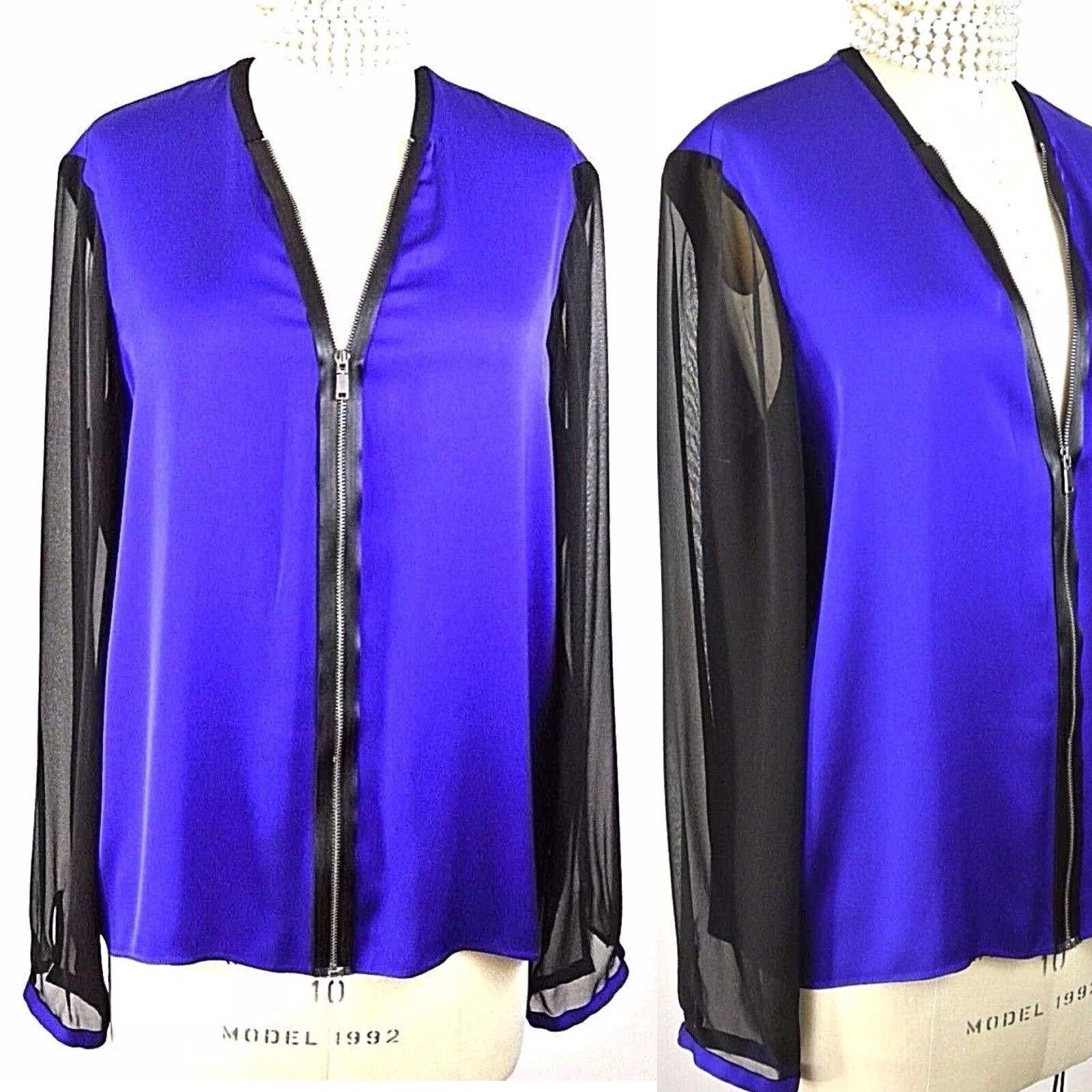 ❤️ELIE TAHARI Royal Blau SILK Zip up TOP XL Jacket Blouse Formal 1001