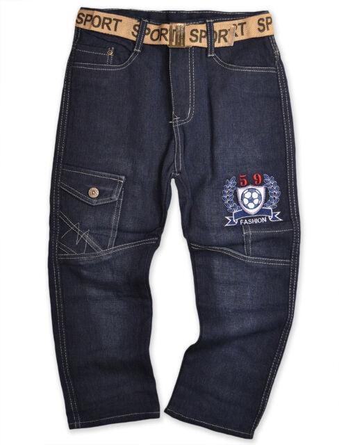 Boys Football Denim Jeans Black Blue Kids Age 3 4 5 6 7 8 9 10 11 12 Years New