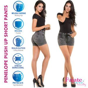 4ad40cc83d6 Colombian Push Up Denim Jeans High Rise Waistband Butt Lifter Short ...